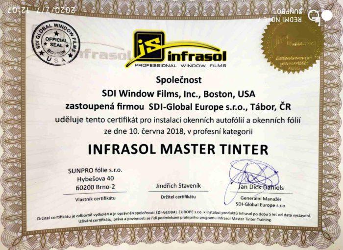 Certifikát Infrasol